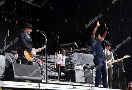 Ty Taylor, Nalle Colt, Rick Barrio Dill, Richard Danielson. Ty Taylor, Nalle Colt, Rick Barrio Dill and Richard Danielson with Vintage Trouble performs during Music Midtown 2017 at Piedmont Park, in Atlanta
