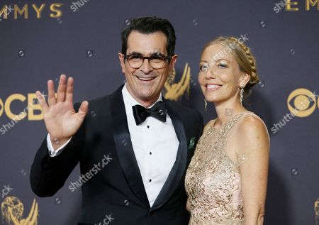 Ty Burrell, Holly Burrell. Ty Burrell, left, and Holly Burrell arrives at the 69th Primetime Emmy Awards, at the Microsoft Theater in Los Angeles