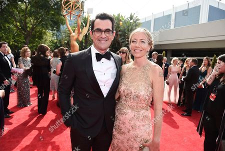Ty Burrell, Holly Burrell. Ty Burrell, left, and Holly Burrell arrive at the 69th Primetime Emmy Awards, at the Microsoft Theater in Los Angeles