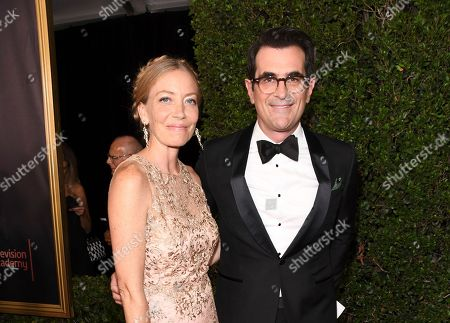 Holly Burrell, Ty Burrell. Holly Burrell, left, and Ty Burrell arrive at the 69th Primetime Emmy Awards, at the Microsoft Theater in Los Angeles