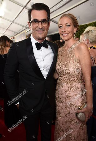 Ty Burrell, Holly Burrell. Ty Burrell (left) and Holly Burrell arrives at the 69th Primetime Emmy Awards, at the Microsoft Theater in Los Angeles