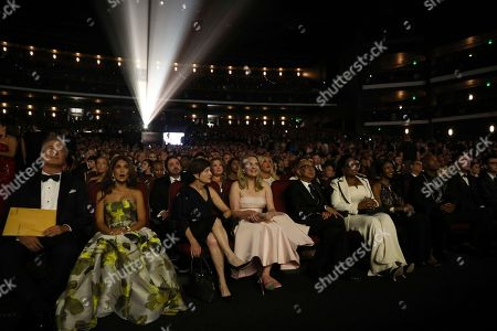 Alec Baldwin, Hilaria Baldwin, Linda Moss, Elisabeth Moss, Oprah Winfrey. Alec Baldwin, from left, Hilaria Baldwin, Linda Moss, Elisabeth Moss, and Oprah Winfrey in the audience at the 69th Primetime Emmy Awards, at the Microsoft Theater in Los Angeles