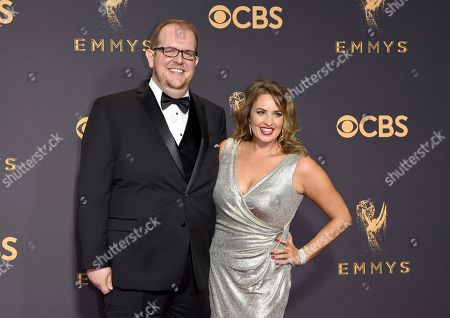 Stock Photo of Dominic Burgess, Sara Cravens. Dominic Burgess, left, and Sara Cravens arrive at the 69th Primetime Emmy Awards, at the Microsoft Theater in Los Angeles