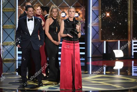 """Audrey Morissey. Audrey Morrissey accepts the award for outstanding reality-competition program for """"The Voice"""" at the 69th Primetime Emmy Awards, at the Microsoft Theater in Los Angeles"""
