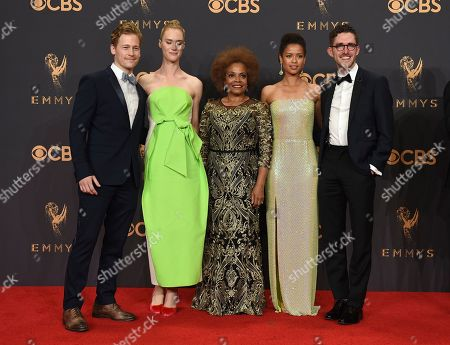"Gavin Stenhouse, Mackenzie Davis, Denise Burse, Gugu Mbatha-Raw, Billy Griffin Jr. Gavin Stenhouse, from left, Mackenzie Davis, Denise Burse, Gugu Mbatha-Raw, and Billy Griffin Jr., winners of outstanding television movie for ""Black Mirror: San Junipero,"" pose in the press room at the 69th Primetime Emmy Awards, at the Microsoft Theater in Los Angeles"