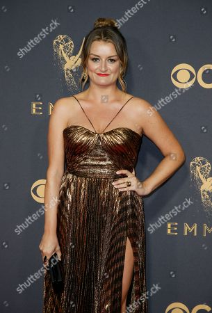 Beejan Land arrives at the 69th Primetime Emmy Awards, at the Microsoft Theater in Los Angeles