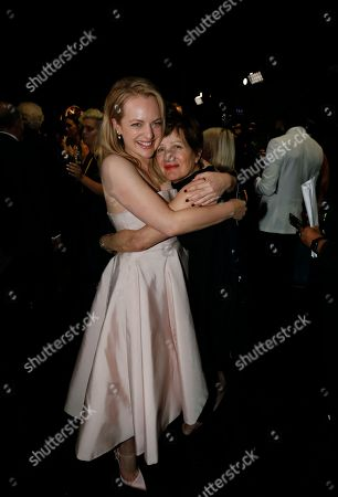 Stock Picture of Elisabeth Moss, Linda Moss hug backstage at the 69th Primetime Emmy Awards, at the Microsoft Theater in Los Angeles