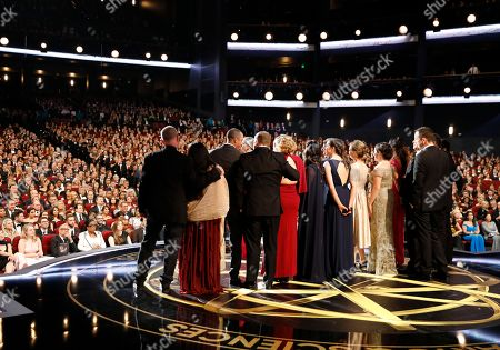 """Audrey Morrissey. The cast of """"The Voice"""" accepts the award for outstanding reality-competition program at the 69th Primetime Emmy Awards, at the Microsoft Theater in Los Angeles"""
