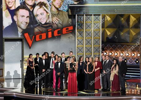 """Stock Photo of Audrey Morrissey accepts the award for outstanding reality-competition program for """"The Voice"""" at the 69th Primetime Emmy Awards, at the Microsoft Theater in Los Angeles"""