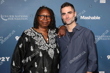 Stock Photo of Whoopi Goldberg, Quinn Tivey. Actress and director Whoopi Goldberg and Quinn Tivey, ambassador to The Elizabeth Taylor AIDS Foundation, pictured on the red carpet at the Social Good Summit on in New York