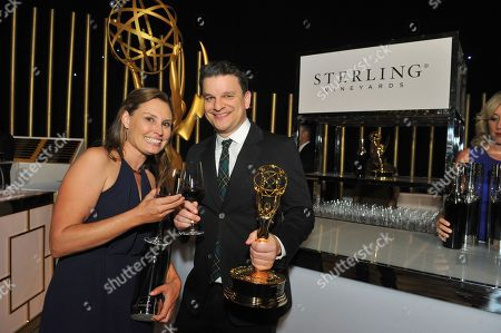 Alex Gregory with personalized bottle of Iridium Cabernet in 2017 Emmy Winners Circle hosted by Sterling Vineyards at the 69th Primetime Emmy Awards Governors Ball on at the LA Convention Center in Los Angeles