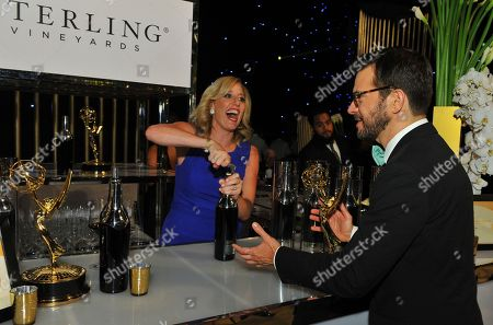 Peter Huyck toasting 2017 Emmy win with glass of Iridium Cabernet in Emmy Winners Circle hosted by Sterling Vineyards at the 69th Primetime Emmy Awards Governors Ball on at the LA Convention Center in Los Angeles