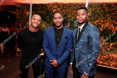 DeRon Horton, Brandon Bell and Marque Richardson seen at Netflix Primetime Emmys Party at NeueHouse in Los Angeles, CA on September 17, 2017