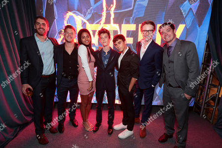 Guest, Jimmy Tatro, Camille Hyde, Griffin Gluck, Tyler Alvarez, Calum Worthy and guest seen at Netflix Primetime Emmys Party at NeueHouse in Los Angeles, CA on September 17, 2017