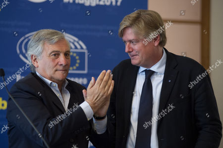 President of European Parliament Antonio Tajani with Antonio Lopez Isturiz White Member of European Parliament
