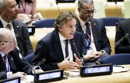 Bert Koenders (C), the foreign minister of the Netherlands, addresses a high-level meeting about the effects of Hurricane Irma on the day before the start of the General Debate of the 72nd session of the United Nations General Assembly at United Nations headquarters in New York, New York, USA, 18 September 2017. The annual gathering of world leaders formally opens 19 September 2017, with the theme, 'Focusing on People: Striving for Peace and a Decent Life for All on a Sustainable Planet.'