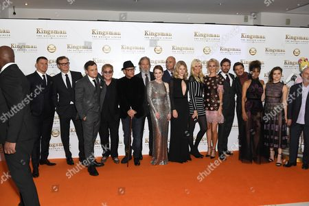 Stock Photo of Channing Tatum, Colin Firth, Taron Egerton, Elton John, David VaughnJeff Bridges, Julianne Moore, Mark Strong, Hanna Alstrom, Claudia Schiffer, Poppy Delevingne, Edward Holcroft, Pedro Pascal, Halle Berry and Sophie Cookson, Keith Allen
