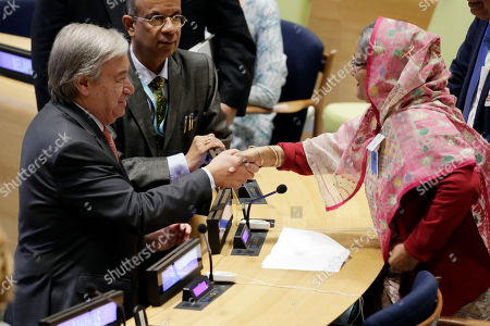 Stock Image of Sheikh Hasina Wazed, Antonio Guterres. Bangladesh Prime Minister Sheikh Hasina Wazed, right, is greeted by United Nations Secretary General Antonio Guterres, left, in the High-Level meeting on the Prevention of Sexual Exploitation and Abuse, at United Nations headquarters