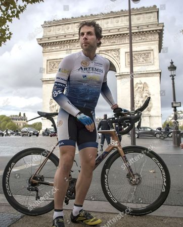 British athlete and adventurer Mark Beaumont arrives in Paris after cycling 29,000 kilometers (18,000 miles) around the world in a record-setting 79 days, in Paris, France, 18 September 2017.  Beaumont set off from Paris on 02 July, and averaged 390 kilometer (240 miles) per day, cycling 16 hours a day as he cycled across Europe, Asia, Australia, New Zealand, and North America before reaching Paris in 79 days. His endeavour earned him the Guinness world record for fastest  world circumnavigation by bicycle, and farthest distance cycled in one month.
