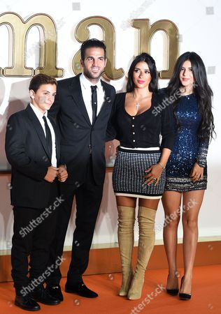 Spanish footballer Cesc Fabregas, (2-L), his partner Daniella Semaan (2-R), his son Leonardo (L) and daughter Capri (R) pose during the world premiere of the movie 'Kingsman: The Golden Circle' in Leicester square in London, Britain, 18 September 2017.