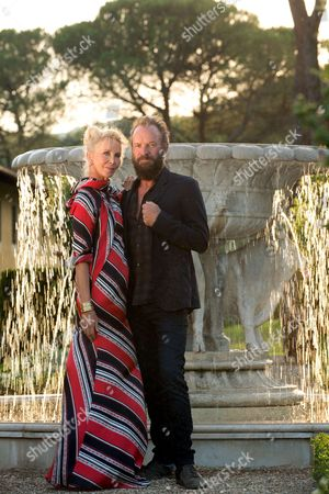 Editorial photo of Sting and wife Trudy Styler Celebrate their Sister Moon Red Wine, Il Palagio, Tuscan Hills, Florence, Italy - 04 Aug 2015