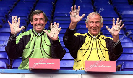 Pic Shows Goalkeeping Ledgends Gordon Banks And Bert Trautmann. Walk Of Fame - Maine Road...bert Trautman (right) And Gordon Banks (left) Show Off Their Famous Hands Having Just Imprinted Them For The Walk Of Fame At Manchester City Football Clubs Maine Road Ground. ..see Story Steve Baker Daily Mail Sport Manchester