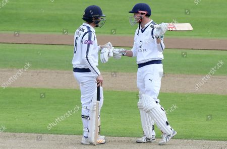 George Bailey (R) of Hampshire is congratulated on scoring a half century of runs during Hampshire CCC vs Essex CCC, Specsavers County Championship Division 1 Cricket at the Ageas Bowl on 19th September 2017