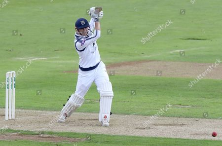Stock Image of George Bailey of Hampshire drives the ball for four runs during Hampshire CCC vs Essex CCC, Specsavers County Championship Division 1 Cricket at the Ageas Bowl on 19th September 2017