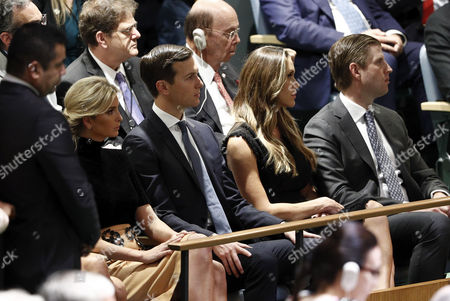 Ivanka Trump (L) her husband Jared Kushner (2-L) Erik Trump (R) and his wife Lara Yunaska (2-R) listen as United States President Donald Trump addressing the assembly during the opening session of the General Debate of the 72nd United Nations General Assembly at UN headquarters in New York, New York, USA, 19 September  2017.  The annual gathering of world leaders formally opens 19 September 2017, with the theme, ÔFocusing on People: Striving for Peace and a Decent Life for All on a Sustainable Planet.'