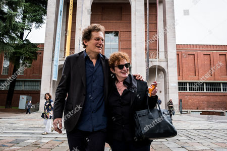 Stock Photo of The curator of exhibition Francois Hebel with Nan Goldin