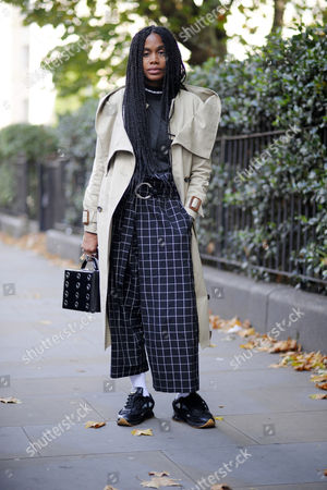 Editorial image of Street Style, Spring Summer 2018, London Fashion Week, UK - 18 Sep 2017