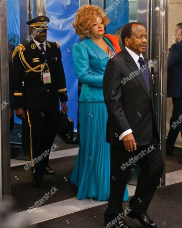Stock Image of President of Cameroon Paul Biya, right, and his wife Chantal Biya, center, arrives for the meeting of the United Nations General Assembly, at U.N. headquarters