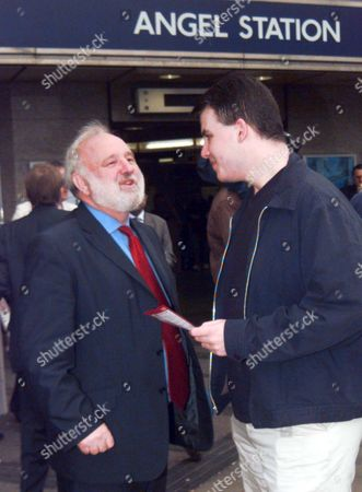 Labour Mayoral Candidate Frank Dobson Campaigning At The Angel Tube Station This Morning. Picture By Barry Phillips.