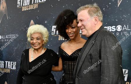 Nichelle Nichols, Sonequa Martin-Green and William Shatner