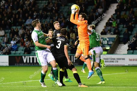 Neil Alexander makes a save during the Betfred Scottish Cup match between Hibernian and Livingston at Easter Road, Edinburgh