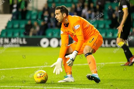Livingston goalkeeper Neil Alexander (#1) collects the ball during the Betfred Scottish Cup match between Hibernian and Livingston at Easter Road, Edinburgh