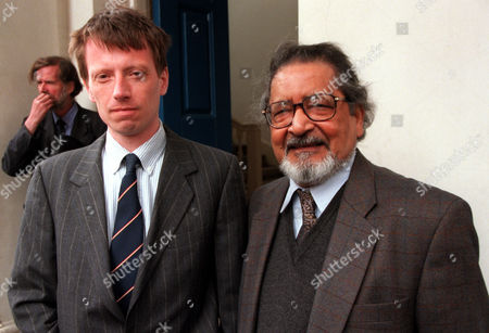 Memorial Service For The Late Author Anthony Dymoke Powell Who Died In March Aged 94. The Service Was Held At The Grosvenor Chapel In South Audlet Street Mayfair. Pictured Are Authors D J Taylor (l) And V S Naipaul (r).