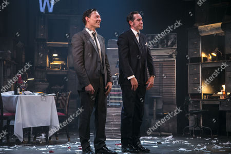 Richard Coyle (Larry Lamb) and Bertie Carvel (Rupert Murdoch) during the curtain call