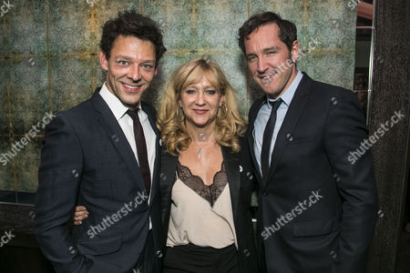 Richard Coyle (Larry Lamb), Sonia Friedman (Producer) and Bertie Carvel (Rupert Murdoch)