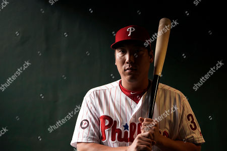 Philadelphia Phillies' Hyun Soo Kim poses for a photo before a baseball game against the Los Angeles Dodgers, in Philadelphia