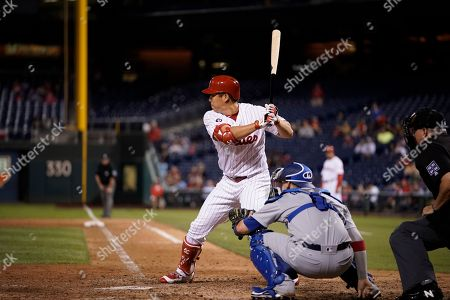 Philadelphia Phillies' Hyun Soo Kim in a action during a baseball game against the Los Angeles Dodgers, in Philadelphia