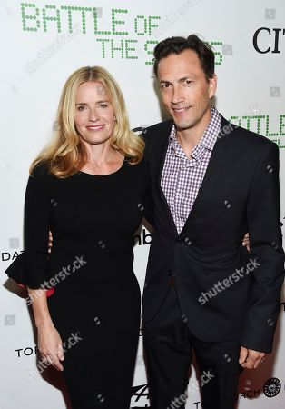 """Elisabeth Shue, Andrew Shue. Actress Elisabeth Shue, left, and her brother Andrew Shue attend a special screening of Fox Searchlight's """"Battle of the Sexes"""" at the SVA Theater, in New York"""