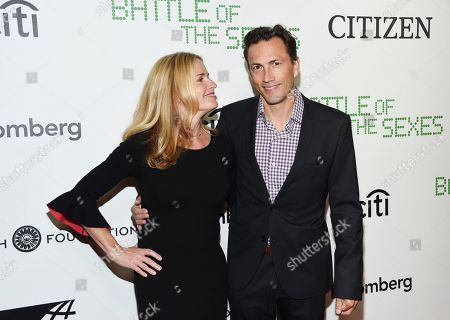 """Elisabeth Shue, Andrew Shue. Actress Elisabeth Shue, left, and her brother Andrew Shue attend a special screening of Fox Searchlight's """"Battle of the Sexes"""" at the SVA Theatre, in New York"""