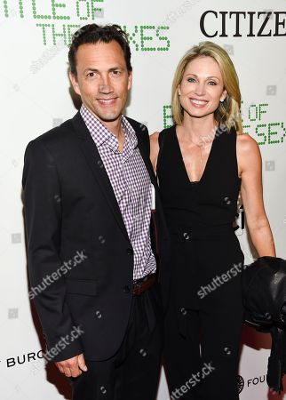 """Andrew Shue, Amy Robach. Actor Andrew Shue and wife Amy Robach attend a special screening of Fox Searchlight's """"Battle of the Sexes"""" at the SVA Theatre, in New York"""