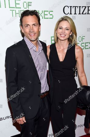 """Andrew Shue, Amy Robach. Actor Andrew Shue and wife Amy Robach attend a special screening of Fox Searchlight's """"Battle of the Sexes"""" at the SVA Theater, in New York"""