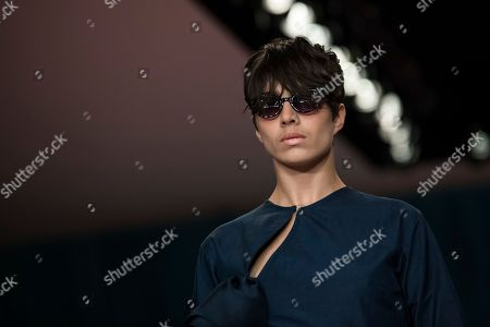 Amara Karan. A model wears a creation by designer Emilio de la Morena during their Spring/Summer 2018 runway show at London Fashion Week in London