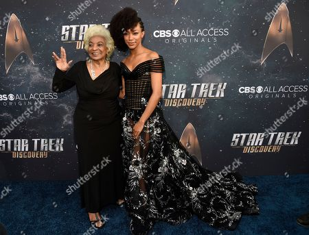 """Sonequa Martin-Green, Nichelle Nichols. Cast member Sonequa Martin-Green, right, poses with original """"Star Trek"""" cast member Nichelle Nichols at the premiere of the new television series """"Star Trek: Discovery"""", in Los Angeles"""