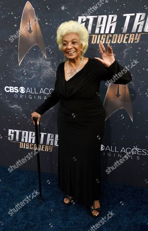 """Original """"Star Trek"""" cast member Nichelle Nichols poses at the premiere of the new television series """"Star Trek: Discovery"""", in Los Angeles"""