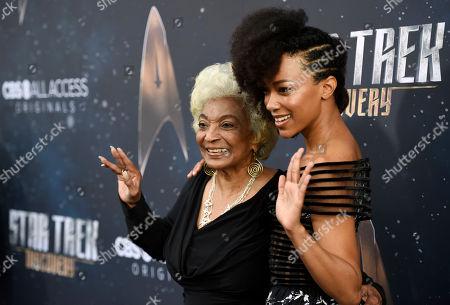 "Sonequa Martin-Green, Nichelle Nichols. Sonequa Martin-Green, right, a cast member in ""Star Trek: Discovery,"" poses with Nichelle Nichols, a cast member in the original ""Star Trek,"" at the premiere of the new television series, in Los Angeles"