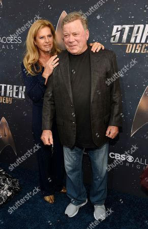 """William Shatner, Elizabeth Shatner. William Shatner poses with his wife Elizabeth at the premiere of the new television series """"Star Trek: Discovery"""", in Los Angeles"""